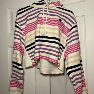 Cropped, striped hoodie (reverse weave Champion)